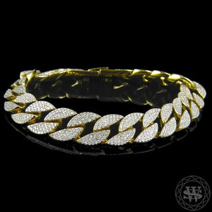 "World Shine Bracelet 14 mm / 9"" / 22.86 cm Premium 925 Sterling Silver 14K Yellow Gold Finish JWS King Lab Diamond Miami Cuban Link Bracelet 14mm"