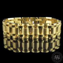 "World Shine Bracelet 15 mm / 8.5"" / 21.59 cm Classic High Quality Brushed Yellow Gold Finish Stainless Steel First Link Presidential Bracelet 15mm"