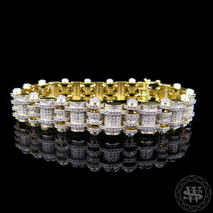 "World Shine Bracelet 15 mm / 8.5"" / 21.59 cm Classic High Quality Gold Finish Over Brass Simulated Diamond Iced Out Custom Style Bracelet 15mm"