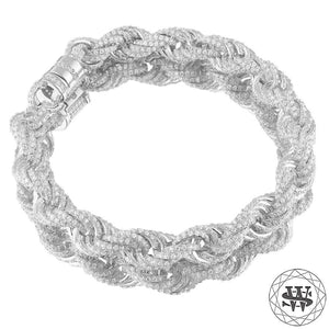 "World Shine Bracelet 18K White Gold / 10 mm / 7"" / 17.78 cm Premium 925 Sterling Silver 18K Yellow/White Gold Plated Iced Out Rope Diamond Cut Bracelet 10mm"