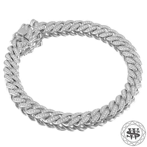 "World Shine Bracelet 18K White Gold / 8.5 mm / 7"" / 17.78 cm Premium 925 Sterling Silver 18K Yellow/White Gold Plated Solid Iced Out Miami Cuban Bracelet 8.5mm"