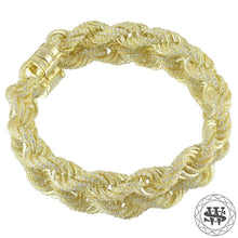 "World Shine Bracelet 18K Yellow Gold / 10 mm / 7"" / 17.78 cm Premium 925 Sterling Silver 18K Yellow/White Gold Plated Iced Out Rope Diamond Cut Bracelet 10mm"