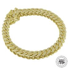 "World Shine Bracelet 18K Yellow Gold / 8.5 mm / 7"" / 17.78 cm Premium 925 Sterling Silver 18K Yellow/White Gold Plated Solid Iced Out Miami Cuban Bracelet 8.5mm"