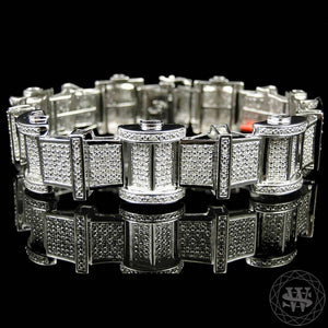 "World Shine Bracelet 19 mm / 8.75"" / 22.22 cm Premium 925 Sterling Silver With Real Diamond 14k White Gold Finish Diamond Bracelet 5Ct 19mm"