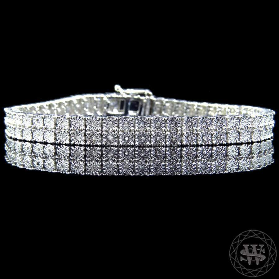 World Shine Bracelet 2 Row Premium 925 Sterling Silver 14k White Gold Finish 2/3/4/5/6/7/8/10 Row Real Diamond Bracelet 0.5>6Ct