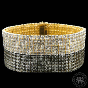 "World Shine Bracelet 20 mm / 9"" / 22.86 cm Premium 925 Sterling Silver 14k Yellow Gold Finish 6 Row Real Diamond Bracelet 3Ct 20mm"