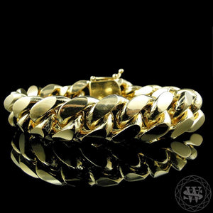 World Shine Bracelet 20 mm Premium 925 S.S 14K Yellow Gold Finish World Shine Giant Miami Cuban Bracelet 13/15/20 mm