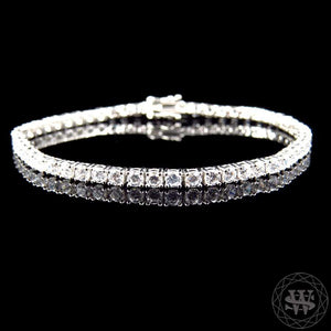 "World Shine Bracelet 3.3 mm / 8"" / 20.32 cm Premium 925 Sterling Silver White Gold Finish Simulated Diamond High Clarity Single Row Bracelet 3.3 mm"