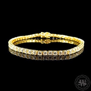 "World Shine Bracelet 3.3 mm / 8"" / 20.32 cm Premium 925 Sterling Silver Yellow Gold Finish Simulated Diamond High Clarity Single Row Bracelet 3.3 mm"