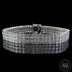 World Shine Bracelet 3 Row Premium 925 Sterling Silver 14k White Gold Finish 2/3/4/5/6/7/8/10 Row Real Diamond Bracelet 0.5>6Ct