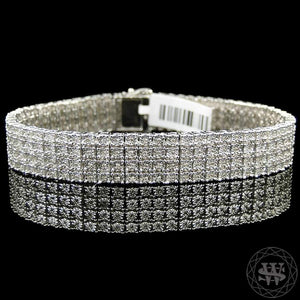 World Shine Bracelet 4 Row Premium 925 Sterling Silver 14k White Gold Finish 2/3/4/5/6/7/8/10 Row Real Diamond Bracelet 0.5>6Ct