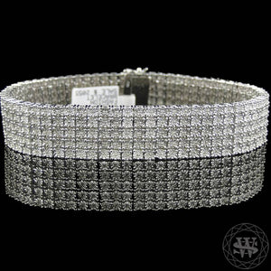 World Shine Bracelet 5 Row Premium 925 Sterling Silver 14k White Gold Finish 2/3/4/5/6/7/8/10 Row Real Diamond Bracelet 0.5>6Ct