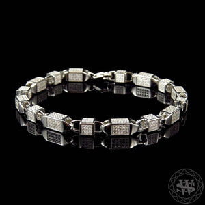 "World Shine Bracelet 6 mm / 8.5"" / 21.59 cm Premium 925 Sterling Silver White Gold Finish 3D Lab Diamond Bullet Chain Bracelet 6mm"