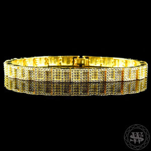 "World Shine Bracelet 6 mm / 8.5"" / 21.59 cm Premium 925 Sterling Silver Yellow Gold Plated Simulated Diamond World G Style Bracelet 6mm"