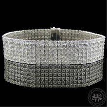 World Shine Bracelet 6 Row Premium 925 Sterling Silver 14k White Gold Finish 2/3/4/5/6/7/8/10 Row Real Diamond Bracelet 0.5>6Ct