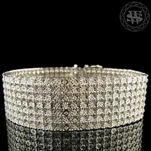 World Shine Bracelet 7 Row Premium 925 Sterling Silver 14k White Gold Finish 2/3/4/5/6/7/8/10 Row Real Diamond Bracelet 0.5>6Ct