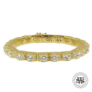 "World Shine Bracelet 8"" / 20.32cm Premium 925 Sterling Silver Yellow Gold Finish 1 Row 3D Diamond Bracelet"
