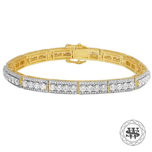 "World Shine Bracelet 8.5"" / 21.59cm / 7.5mm Premium 925 Sterling Silver Yellow Gold Finish 3 Row Tennis Bracelet 7.5mm"