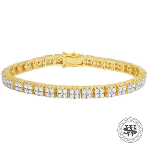 "World Shine Bracelet 8.5"" / 21.59cm / 7mm Premium 925 Sterling Silver Yellow Gold Finish 2 Row Tennis Bracelet 7mm"
