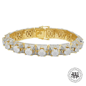 "World Shine Bracelet 8.5"" / 21.59cm Premium 925 Sterling Silver Yellow Gold Finish 3D WS Diamond Bracelet 13mm"
