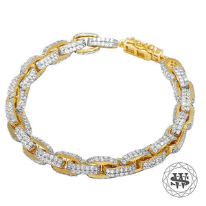 "World Shine Bracelet 8 mm / 8"" / 20.32 cm Classic High Quality Brass Yellow Gold Finish Simulated Diamond Royal Link Bracelet 8mm"