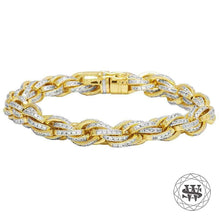"World Shine Bracelet 9"" / 22.86cm / 10mm Classic High Quality Brass Rope Iced Out Bracelet Yellow Gold Finish 10mm"