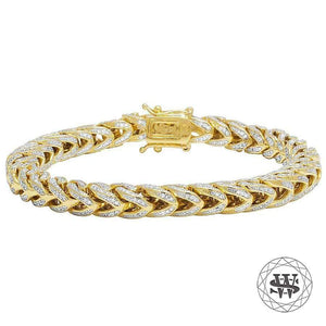"World Shine Bracelet 9"" / 22.86cm / 8mm Classic High Quality Brass Franco Iced Out Bracelet Yellow Gold Finish 8mm"