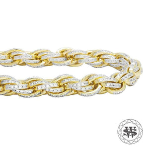 World Shine Bracelet Classic High Quality Brass Rope Iced Out Bracelet Yellow Gold Finish 10mm
