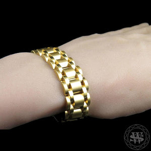 World Shine Bracelet Classic High Quality Brushed Yellow Gold Finish Stainless Steel First Link Presidential Bracelet 15mm
