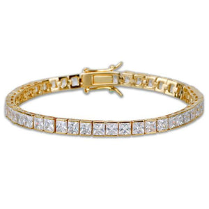 Hip Hop Jewelry World Shine Bracelet Gold / 7 inch / 6 mm Iced Out 1 Row Square Bracelet Gold : 4 - 6 mm