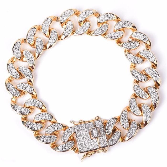 World Shine Bracelet Gold / 7 inch Iced Out Premium Cuban Bracelet 14mm Gold / Diamond