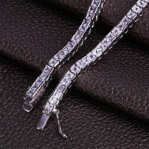 World Shine Bracelet Iced Out 1 Row Square Bracelet Silver : 4 - 6 mm