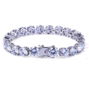 World Shine Bracelet Iced Out Big 1 Row Tennis Bracelet Silver 8mm