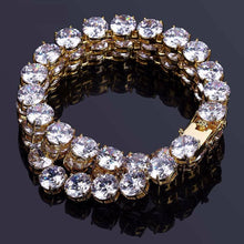 World Shine Bracelet Iced Out Giant 1 Row Tennis Bracelet Gold 10mm