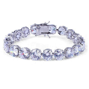 World Shine Bracelet Iced Out Giant 1 Row Tennis Bracelet Silver 10mm
