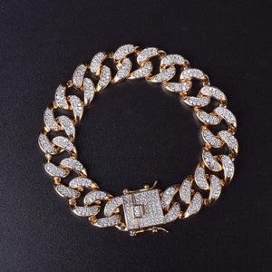 World Shine Bracelet Iced Out Premium Cuban Bracelet 14mm Gold / Diamond