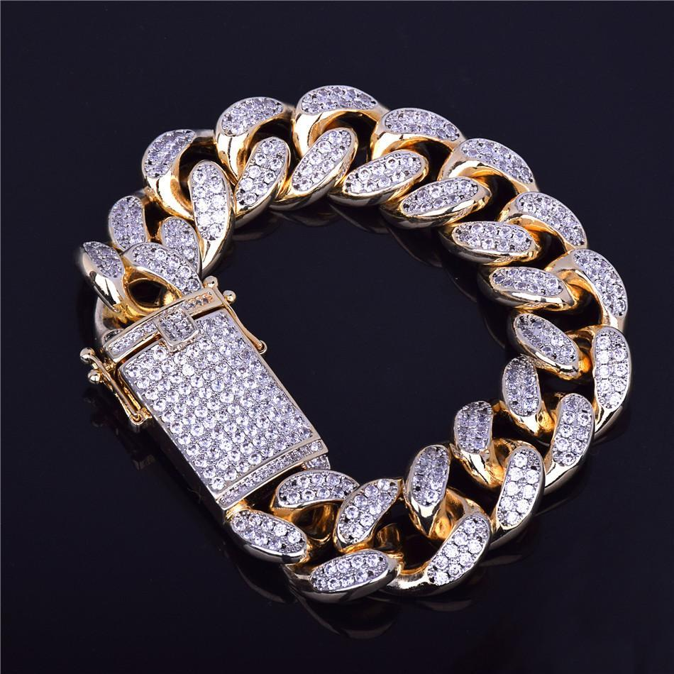 5031089d38e14 Classic Iced Out Premium Miami Cuban Link Bracelet Gold Diamond 18mm