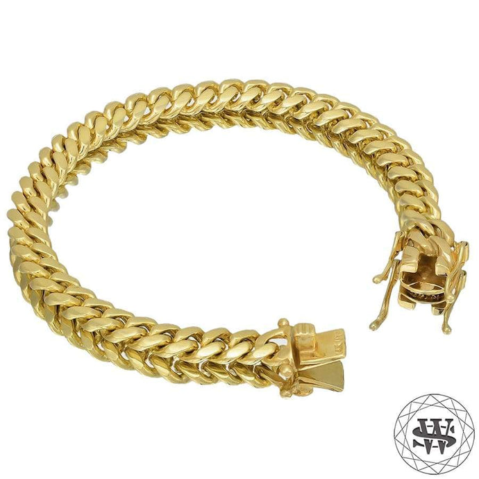 World Shine Bracelet Premium 925 S.S 18k Yellow or White Gold Plated Solid Miami Cuban Bracelet 7.5/9/10.5/12/14/16/17.5mm 7