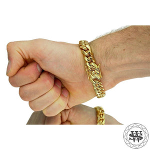 "World Shine Bracelet Premium 925 S.S 18k Yellow or White Gold Plated Solid Miami Cuban Bracelet 7.5/9/10.5/12/14/16/17.5mm 7"" to 9"""