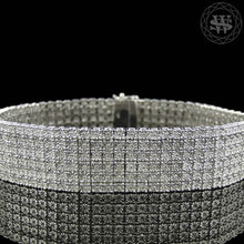World Shine Bracelet Premium 925 Sterling Silver 14k White Gold Finish 2/3/4/5/6/7/8/10 Row Real Diamond Bracelet 0.5>6Ct
