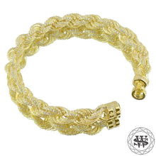 World Shine Bracelet Premium 925 Sterling Silver 18K Yellow/White Gold Plated Iced Out Rope Diamond Cut Bracelet 10mm