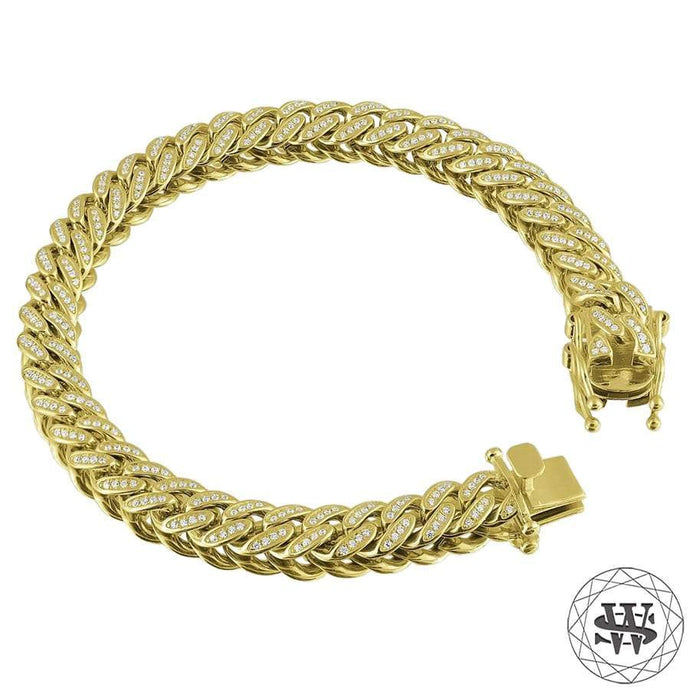 World Shine Bracelet Premium 925 Sterling Silver 18K Yellow/White Gold Plated Solid Iced Out Miami Cuban Bracelet 8.5mm