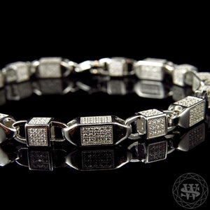 World Shine Bracelet Premium 925 Sterling Silver White Gold Finish 3D Lab Diamond Bullet Chain Bracelet 6mm