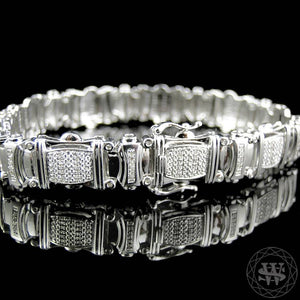 World Shine Bracelet Premium 925 Sterling Silver With Real Diamond 14k White Gold Finish Diamond Bracelet 1.2Ct 12.5mm