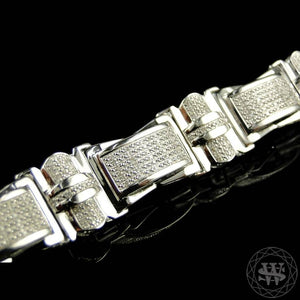 World Shine Bracelet Premium 925 Sterling Silver With Real Diamond 14k White Gold Finish Diamond Bracelet 2.5Ct 15.5mm