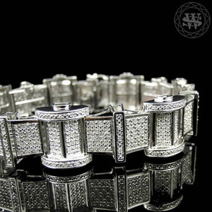 World Shine Bracelet Premium 925 Sterling Silver With Real Diamond 14k White Gold Finish Diamond Bracelet 5Ct 19mm