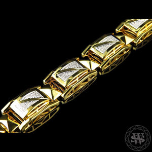 World Shine Bracelet Premium 925 Sterling Silver With Real Diamond 14K Yellow Gold Finish Diamond Bracelet 1.20Ct 12mm
