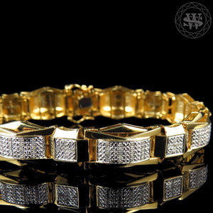 World Shine Bracelet Premium 925 Sterling Silver With Real Diamond 14k Yellow Gold Finish Diamond Bracelet 1.20Ct 13mm