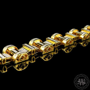 World Shine Bracelet Premium 925 Sterling Silver With Real Diamond 14k Yellow Gold Finish Diamond Bracelet 2.5Ct 20mm