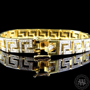 World Shine Bracelet Premium 925 Sterling Silver With Real Diamond 14k Yellow Gold Finish Diamond Bracelet 4.2Ct 9.5mm